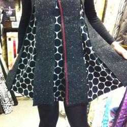 wool tweed double cloth zippy dress