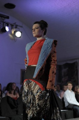 quilted jersey jacket and jersey draped skirt