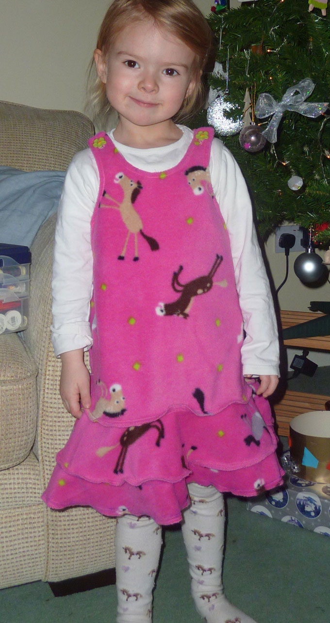 horsey print fleece dress