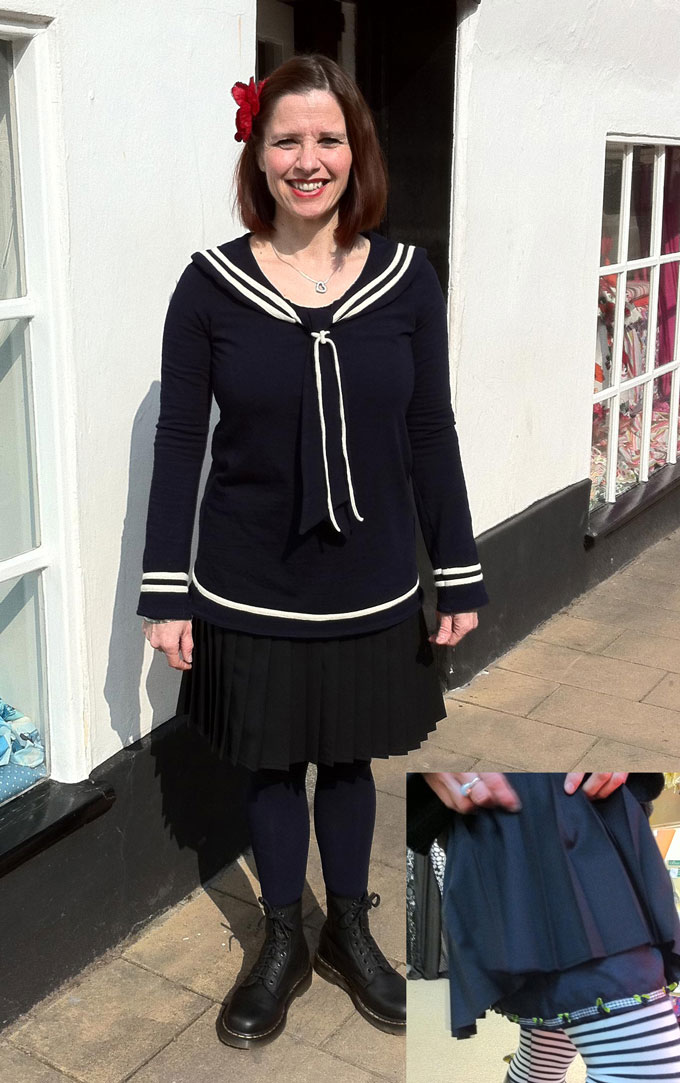 double jersey sailor top and pleated wool and silk skirt