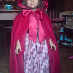 red cotton cape and red riding hood gingham cotton dress