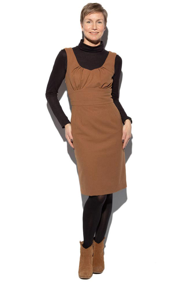 camel cotton and viscose pinafore dress