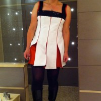 white grosgrain zippy panelled dress with sequinned yoke and red sateen inserts
