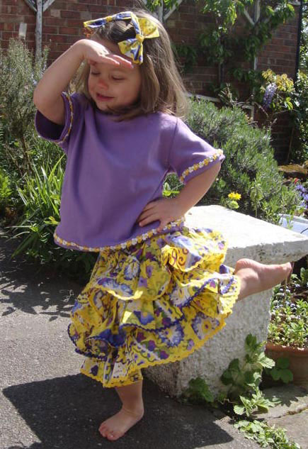 yellow printed cotton lawn rara skirt and purple t-shirt