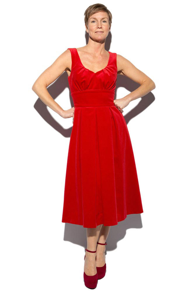 red cotton velvet flared dress