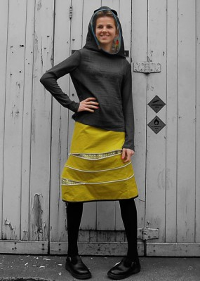cotton drill zippy twister skirt and wool gauze jersey hoody with ears