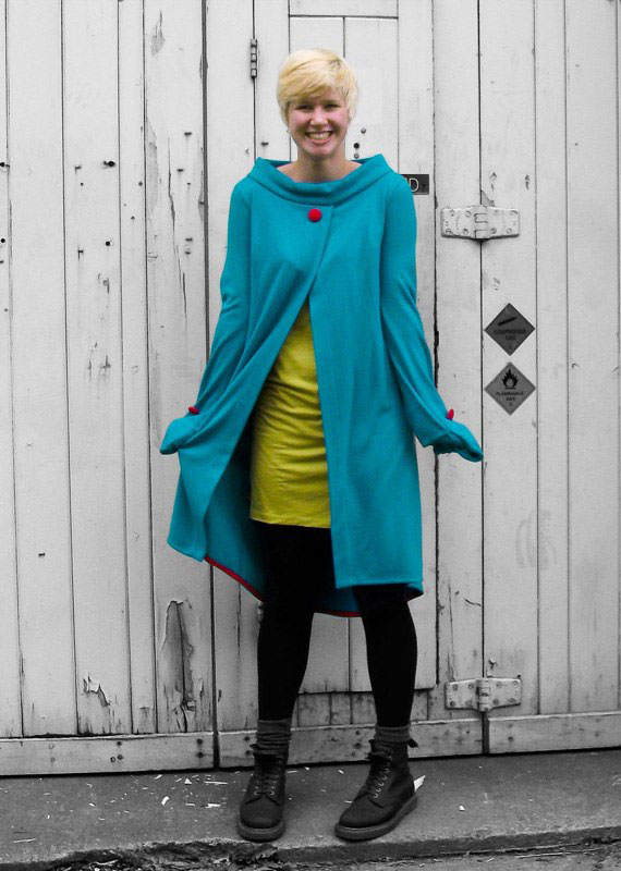 monster glove felted wool jersey long cardigan