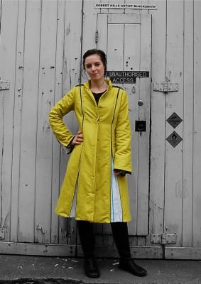 proofed linen panelled zippy coat