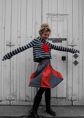 wool and angora monster glove jumper and panelled wool zippy skirt