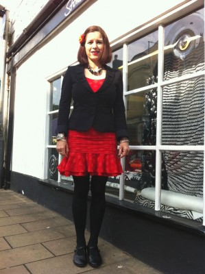 red spotty frill hem seersucker cotton dress