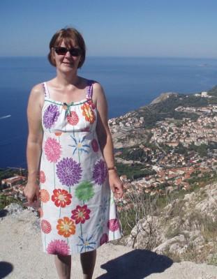 big flower printed cotton sun dress