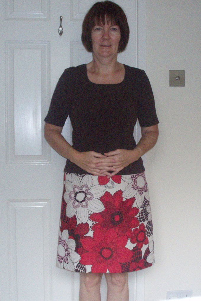 linen and ramie printed a-line skirt