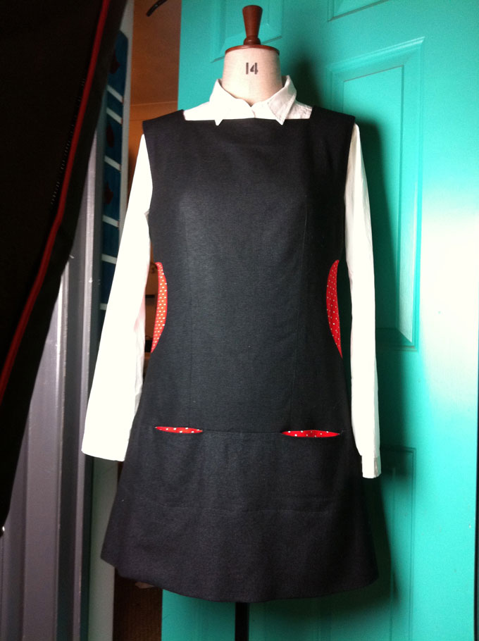 silk and wool tweed pinafore dress with circle inserts