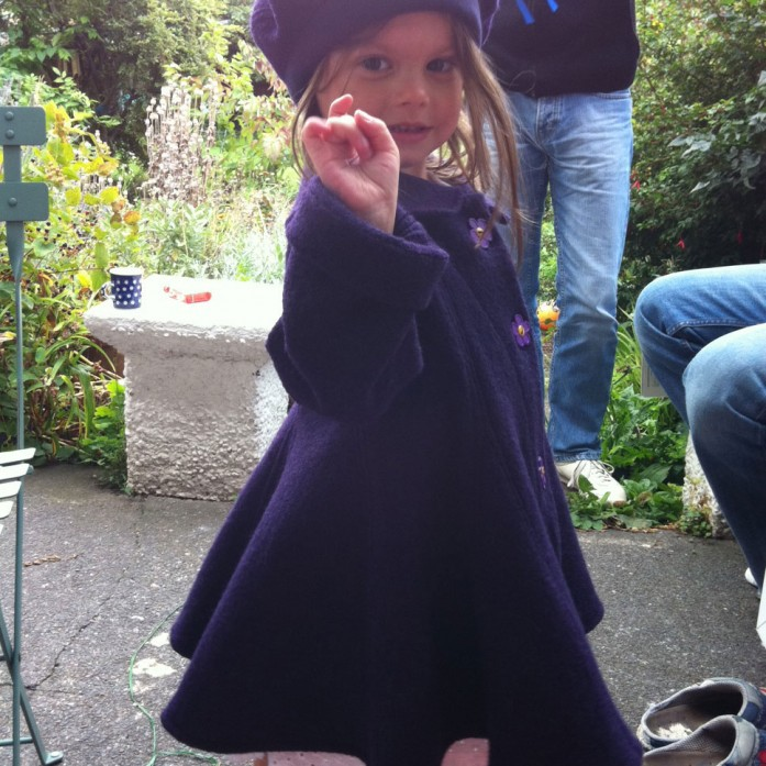 boiled wool child's swing coat and matching beret