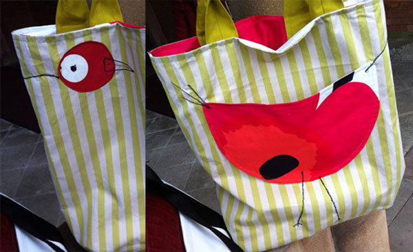 bird appliqué tote bag