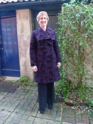 flock printed boiled wool coat