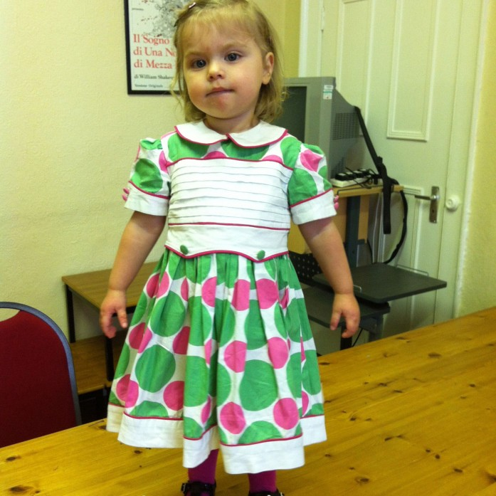spotty cotton dress with piping and pleat detailing