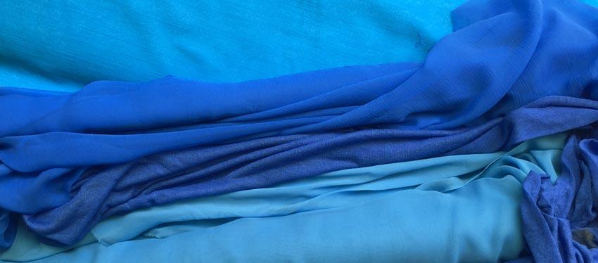 turquoise stretch denim, sky and royal blue silk chiffon, ultramarine blue viscose gauze knit
