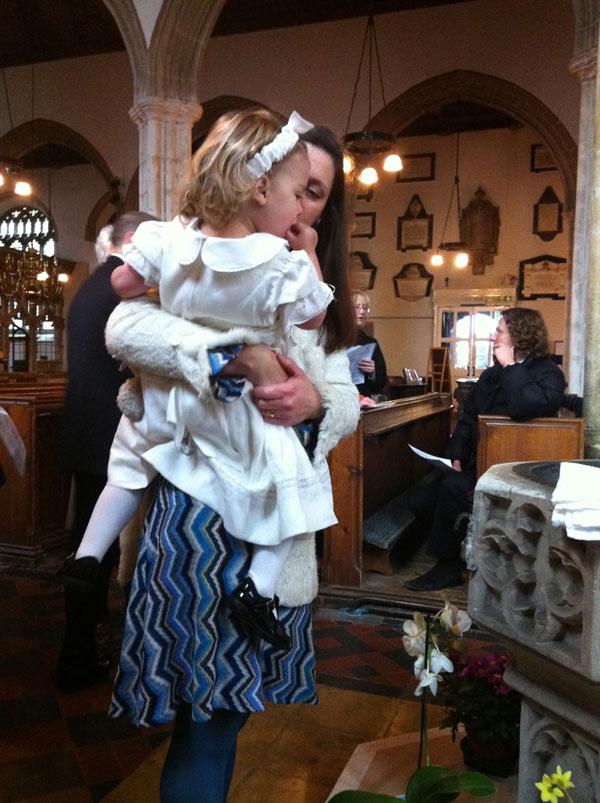 Missoni knit dress and linen christening dress