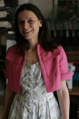 Vintage Vogue cotton dress with linen bolero jacket
