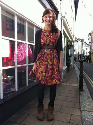 cotton lawn box pleat dress
