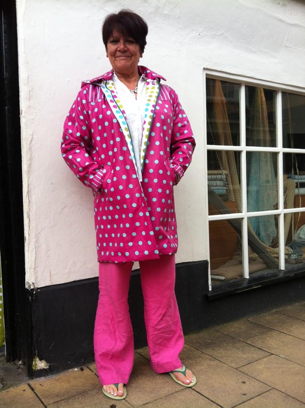 spotty laminated cotton raincoat