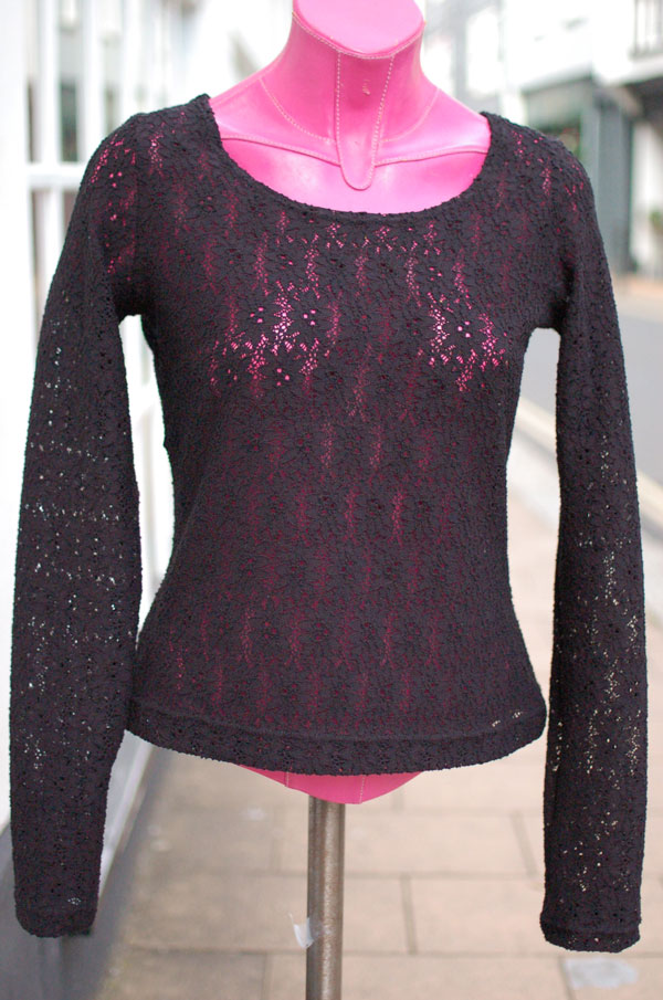 black stretch lace t-shirt