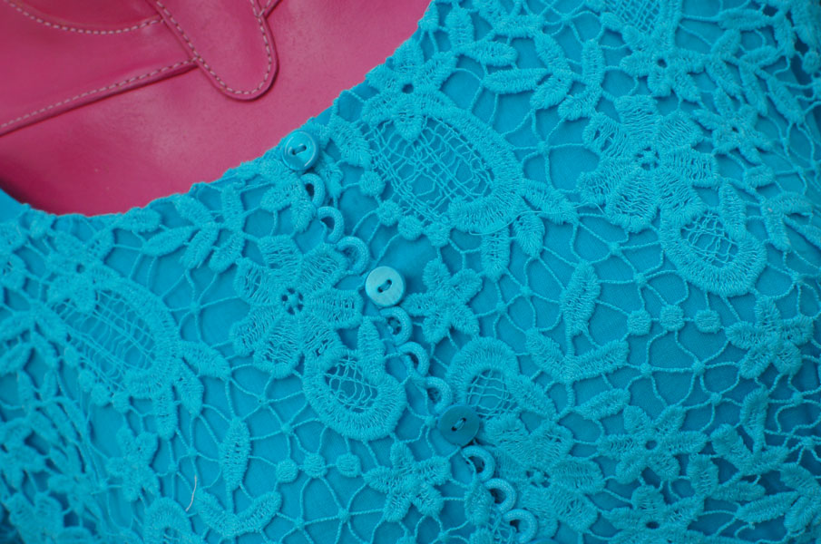 dyed cotton guipure lace top detail