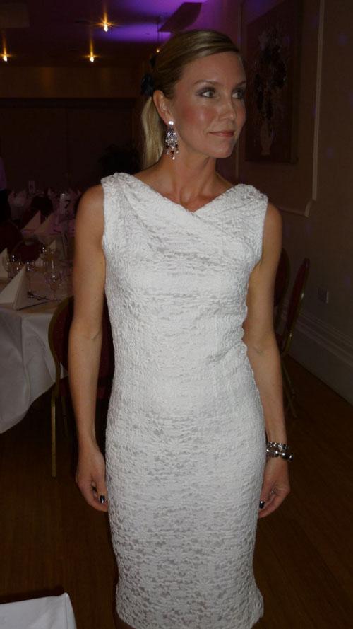 white cloqué cotton dress