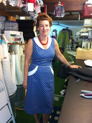 blue and white stretch cotton sateen dress