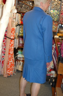 bright blue worsted wool skirt suit