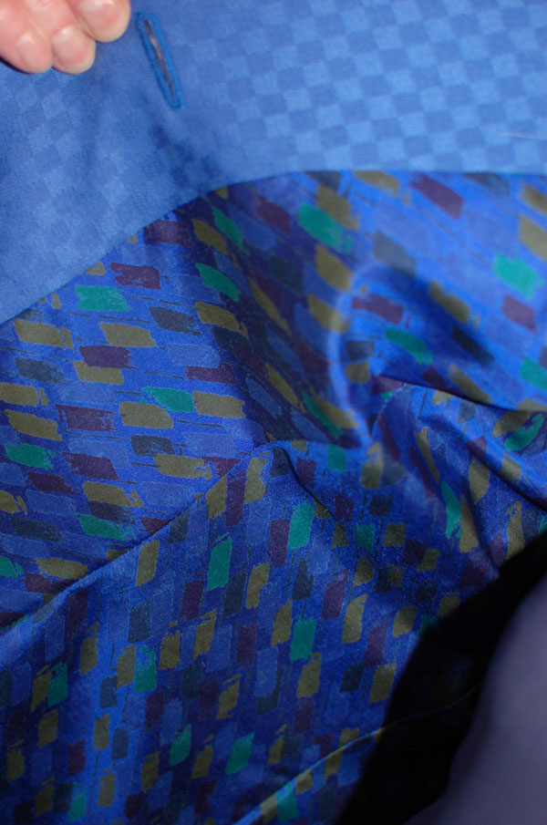 bright blue worsted wool suit with silk lining