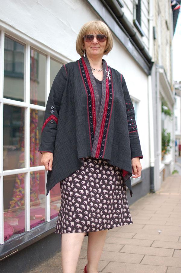 flippy viscose skirt and marcy tilton jacket