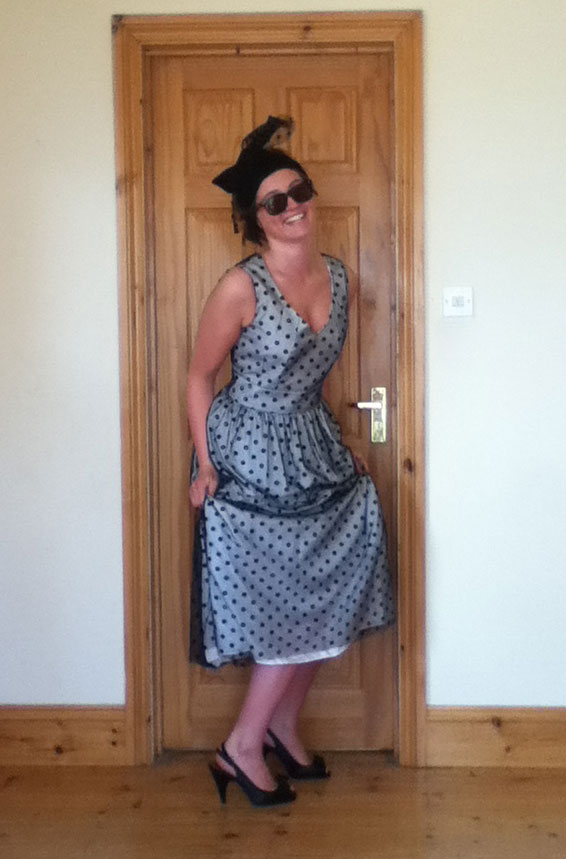 black spotty tulle dress with white silk lining