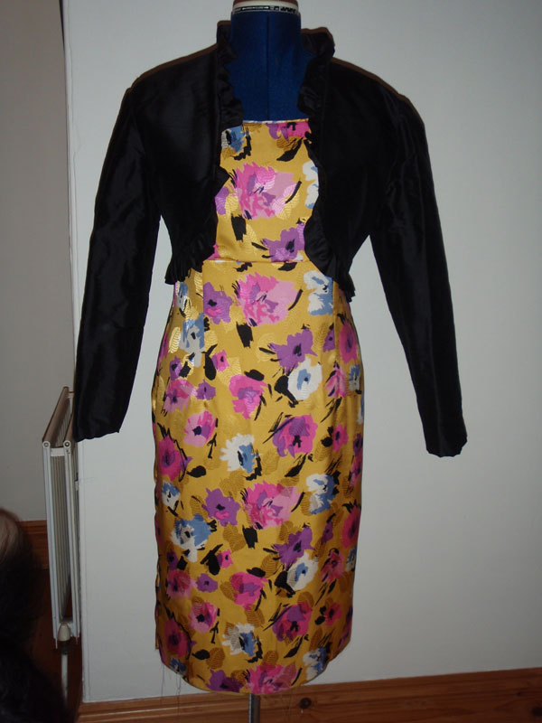 yellow viscose dress with black silk bolero
