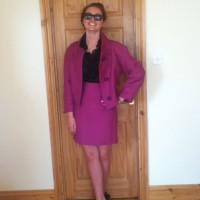 magenta linen skirt suit