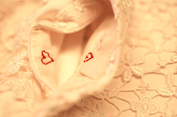 guipure lace wedding dress hearts detail