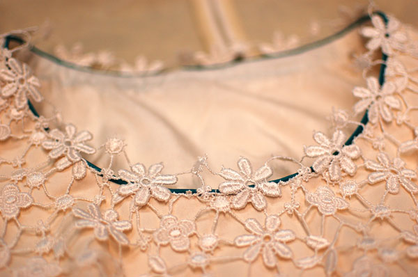 guipure lace wedding dress neckline detail
