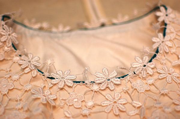 guipure lace wedding dress neckline detail