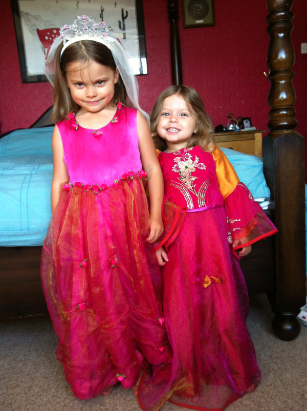 Indian princess organza and satin dresses