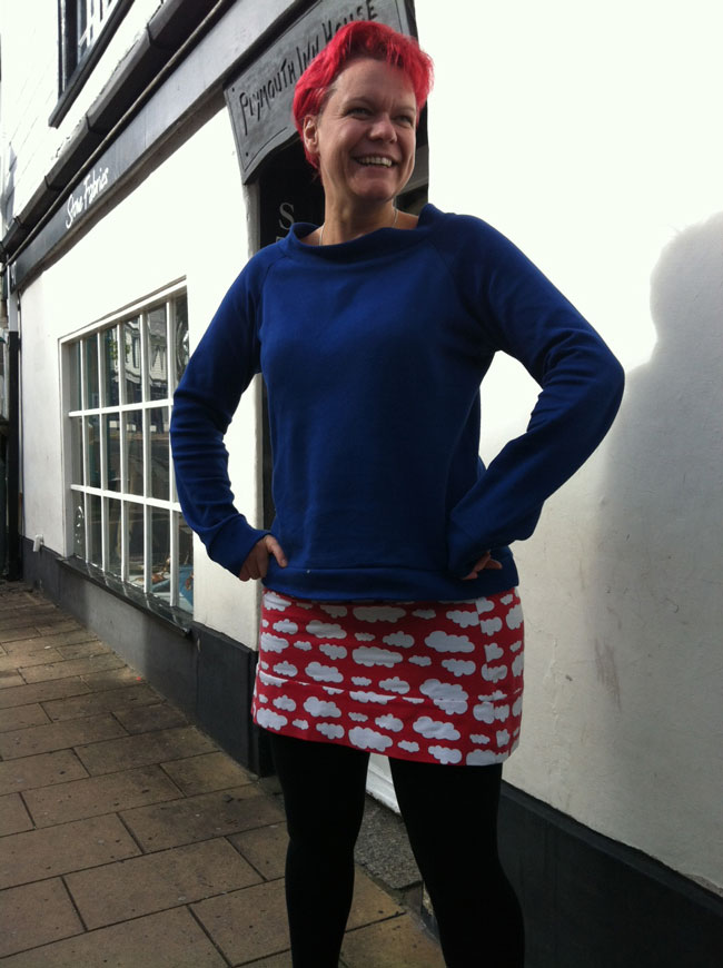 raglan sweatshirt and cloud printed jersey mini skirt
