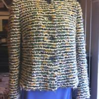 Alpaca knit jacket and wool crepe skirt