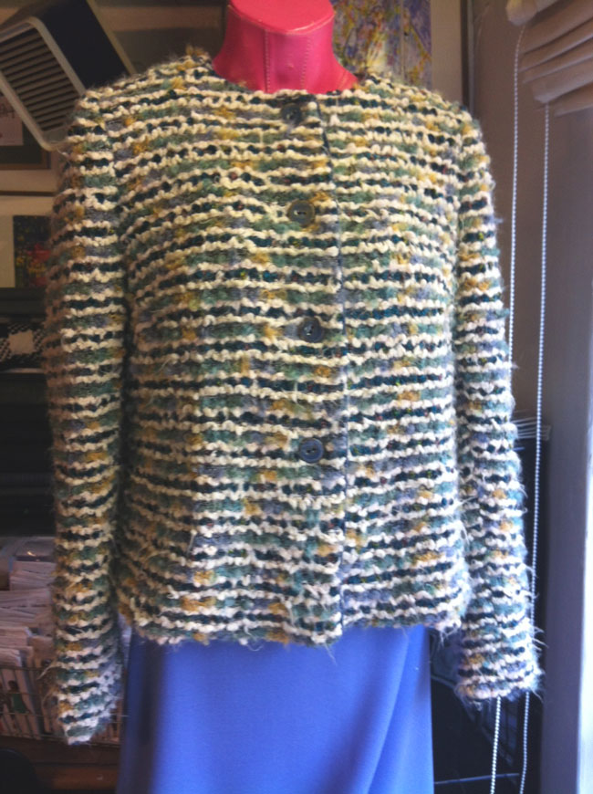 Alpaca knit jacket and wool crepe skirt