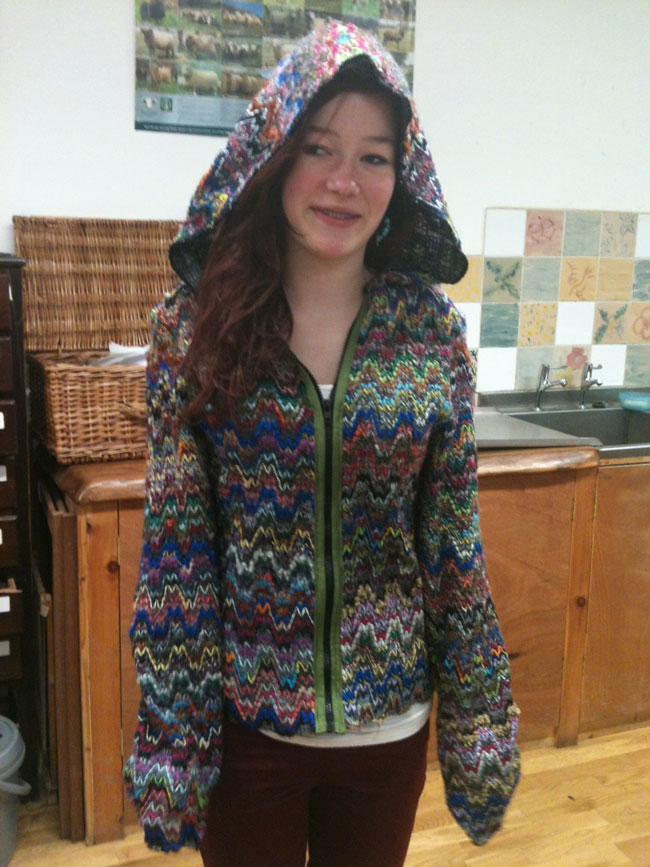 missoni chevron weave hooded jacket