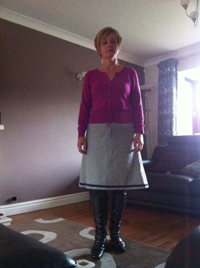 wool skirt with ribbon trim