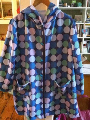 blue spotty proofed poly raincoat