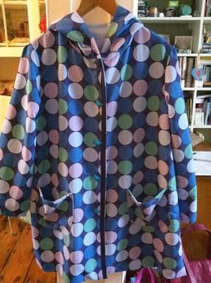 blue spotty proofed poly raincoat
