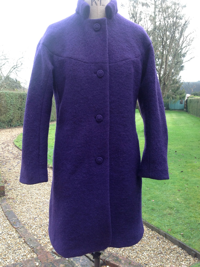 aubergine purple boiled wool coat