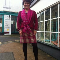 magenta and camel check wool worsted skirt