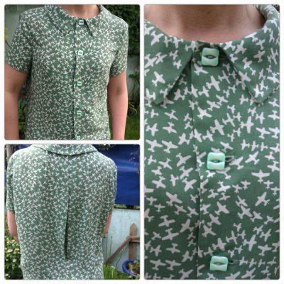 aeroplane printed viscose lawn blouse